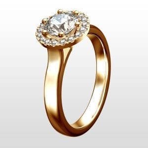 Diamantring Halo 0,91ct rödguld