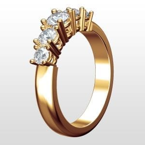 Diamantring Hollywood femstensring 0.75ct rödguld