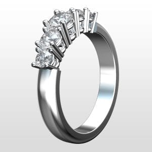 Diamantring Hollywood femstensring 0.75ct vitguld