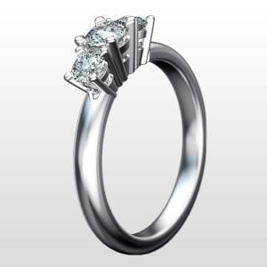 Diamantring Tower trestensring 0,60ct vitguld rund