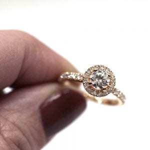Diamantring Halo 0,84ct rödguld